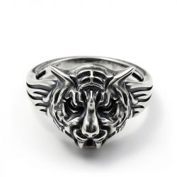 "Jeulia ""King of the Forest"" Tiger Sterling Silver Men's Ring"