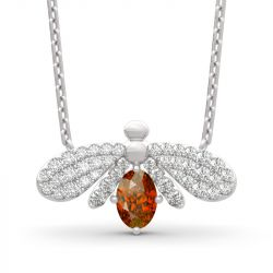 """Jeulia """"Natural Wonder"""" Firefly Design Oval Cut Sterling Silver Necklace"""