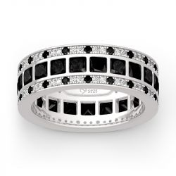 "Jeulia ""Love Movie"" Princess Cut Sterling Silver Men's Band"