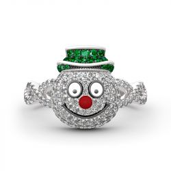 """Jeulia """"Merry Christmas"""" Snowman Design Sterling Silver Ring"""