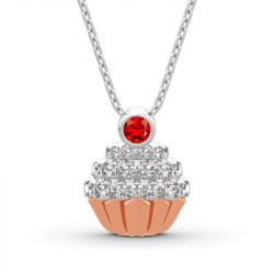 "Jeulia ""Sweet Secrets"" Cupcake Design Sterling Silver Necklace"