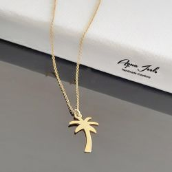 """Jeulia """"I'm Cool"""" Palm Tree Sterling Silver Necklace"""