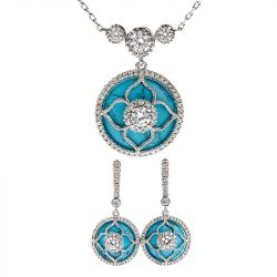 """Jeulia """"Lucky Choice"""" Flower Turquoise Sterling Silver Jewelry Set"""