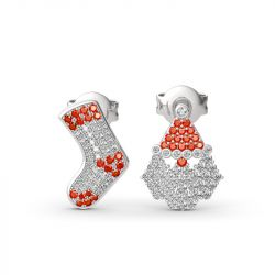 """Jeulia """"Santa Claus&Christmas Stocking"""" Sterling Silver Mismatched Stud Earrings"""