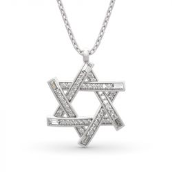 "Jeulia ""Six-pointed Star of David"" Round Cut Sterling Silver Necklace"