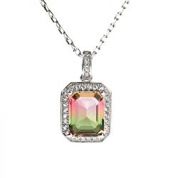 "Jeulia ""One of a Kind"" Emerald Cut Sterling Silver Watermelon Necklace"