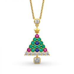 """Jeulia """"Christmas Tree"""" Round Cut Sterling Silver Necklace"""