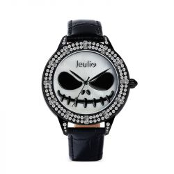 """Jeulia """"Master of Fright"""" Skull Design Quartz Black Leather Watch with Mother-of-Pearl Dial"""