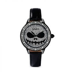 "Jeulia ""Patron Spirit of Halloween"" Skull Design Quartz Black Leather Women's Watch"