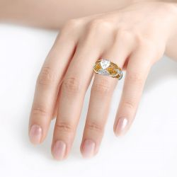 Jeulia Vintage Lace Design Heart Cut Sterling Silver Ring