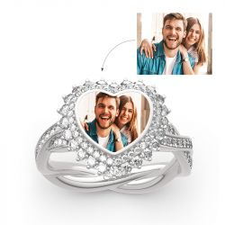 "Jeulia ""Unstoppable Love"" Sterling Silver Personalized Photo Ring"