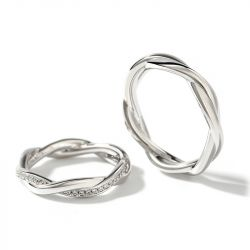 "Jeulia ""Interweaving of Love"" Sterling Silver Couple Rings"