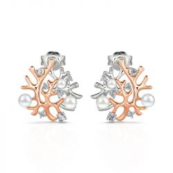 "Jeulia ""Coral Reefs"" Cultured Pearl Sterling Silver Earrings"
