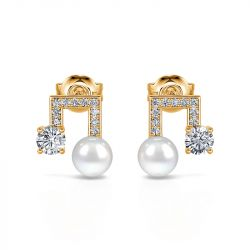 """Jeulia """"Sound of Music"""" Note Design Cultured Pearl Sterling Silver Earrings"""