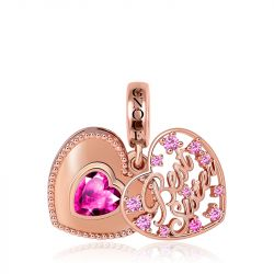 Best Sister Heart Charm Pendant 18k Rose Gold Plated 925 Sterling Silver