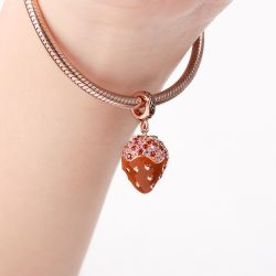 Strawberry Chocolate Earl Charm Pendant Rose Gold Plated S925 Silver