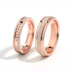 """Jeulia """"My Promise"""" Sterling Silver Couple Rings"""