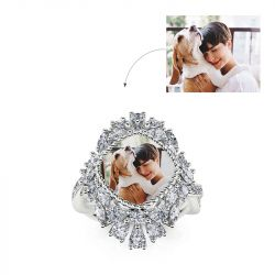 """Jeulia """"Being Happy"""" Sterling Silver Personalized Photo Ring"""