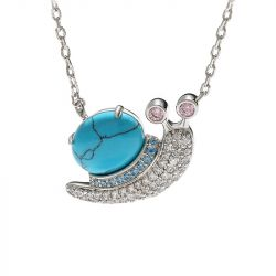 """Jeulia """"Natural Beauty"""" Snail Turquoise Design Sterling Silver Necklace"""