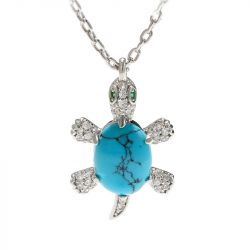 """Jeulia """"Wise Tortoise"""" Turquoise Design Sterling Silver Necklace"""