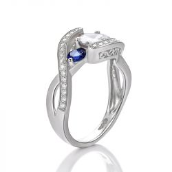 Jeulia Bypass Heart Cut Sterling Silver Ring