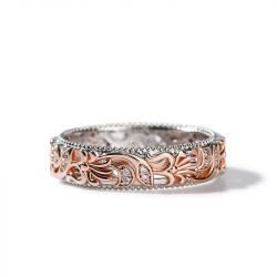 Jeulia Two Tone Floral and Leaf Carved Unique Sterling Silver Wommen's Band