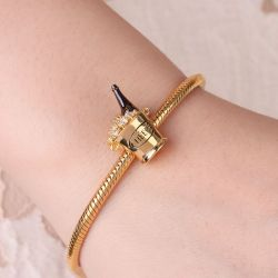 Ice Bucket Gold Plated Sterling Silver Bead Charm