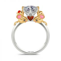 """Jeulia Hug Me """"Lucky Elephant Lovers"""" Round Cut Sterling Silver Ring"""