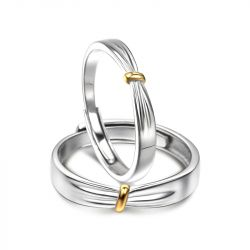 """Jeulia """"Lover Knot"""" Two Tone Adjustable Sterling Silver Couple Rings"""