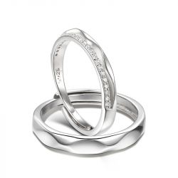 """Jeulia """"The Exclusive Mark of Love"""" Adjustable Sterling Silver Couple Rings"""