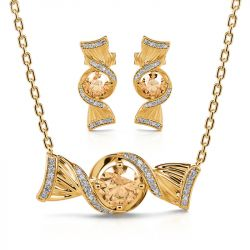 """Jeulia """"Sweets for My Sweet"""" Candy Round Cut Sterling Silver Jewelry Set"""