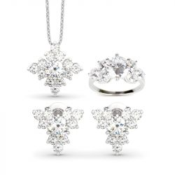 Jeulia Sparkling Cluster Round Cut Sterling Silver Jewelry Set