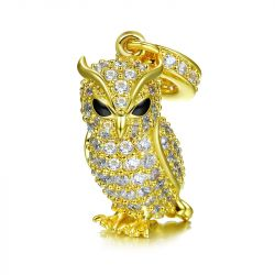 """Guarding You"" Owl Sterling Silver Dangle Charm"