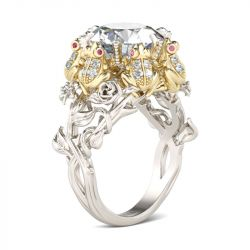 Jeulia Flower Round Cut Sterling Silver Frog Ring