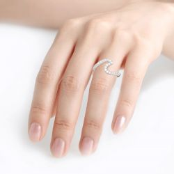 Jeulia Sea Wave Sterling Silver Ring