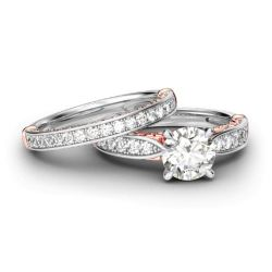 Jeulia Scrollwork Round Cut Sterling Silver Ring Set
