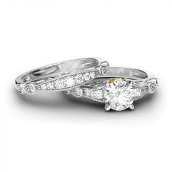 Jeulia Classic Scrollwork Round Cut Sterling Silver Ring Set