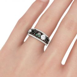 Jeulia Floral Design Round Cut Sterling Silver Skull Ring