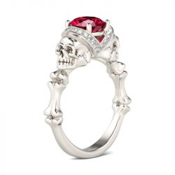 Jeulia Bone Round Cut Sterling Silver Skull Ring