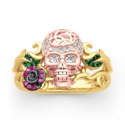 """Jeulia """"Forever Romance"""" Skull and Rose Sterling Silver Ring"""