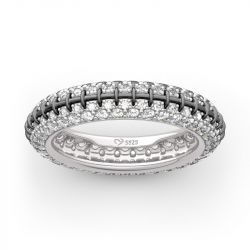 """Jeulia """"Pumpkin King"""" Inspired Sterling Silver Eternity Band"""