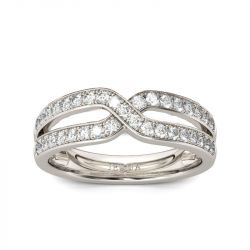 Jeulia Crossover Round Cut Sterling Silver Women's Band