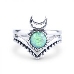 Jeulia To the Moon and Back Stackable Opal Ring
