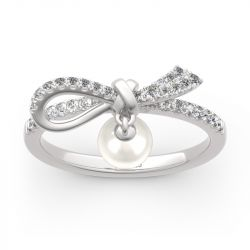 Jeulia Bowknot Cultured Pearl Sterling Silver Ring