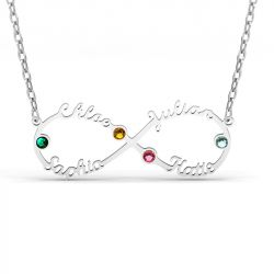 Jeulia Infinity Sterling Silver Name Necklace With Stones