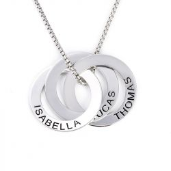 Jeulia Russian Ring Engraved Necklace Sterling Silver