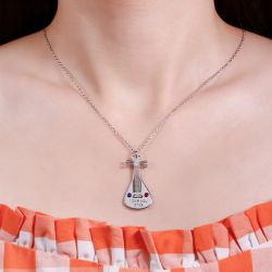 Jeulia Lute Personalized Sterling Silver Necklace