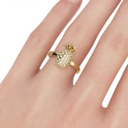 Jeulia Pineapple Sterling Silver Ring