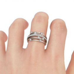 Jeulia Starry Sterling Silver Cocktail Ring