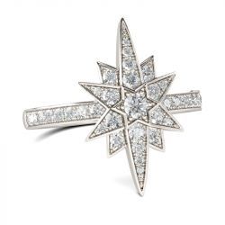 Jeulia Star Design Round Cut Sterling Silver Ring